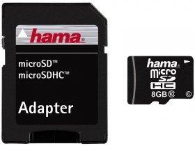 Muistikortti HAMA MicroSDHC 8GB + adapteri Class 10